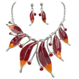 Red Orange Leaves Statement Necklace Earrings Set